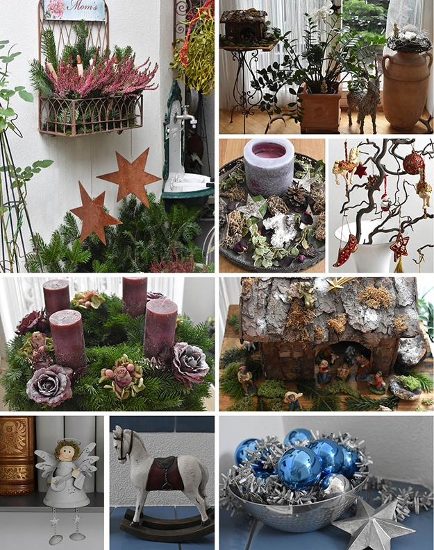 Weihnachtsdekobildermix draußen und drinnen: Adventskranz, Gartendeko mit rosa Heidekraut und rostigen Metallsternen, Holzkrippe, Metallengel, hölzernes weißes Pferd, Silberschale mit blauen Kugeln und silbernen Sternen
