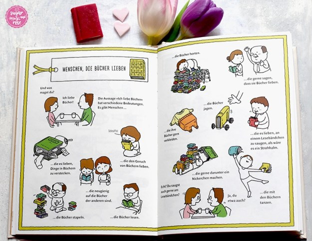 """Aufgeschlagenes Buch """"Die Buchhandlung der Wünsche"""" mit Cartoons über Buchliebhaber"""