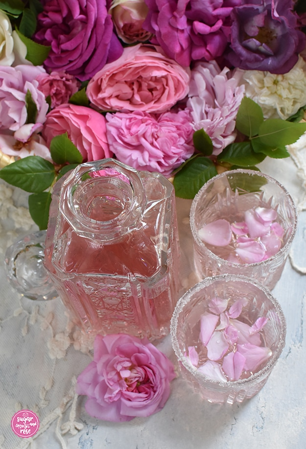 Pink Rosé Gin in Karaffe mit zwei Gläsern mit Zuckerrand, dahinter Rosen in verschiedenen Rosa- und Pinktönen