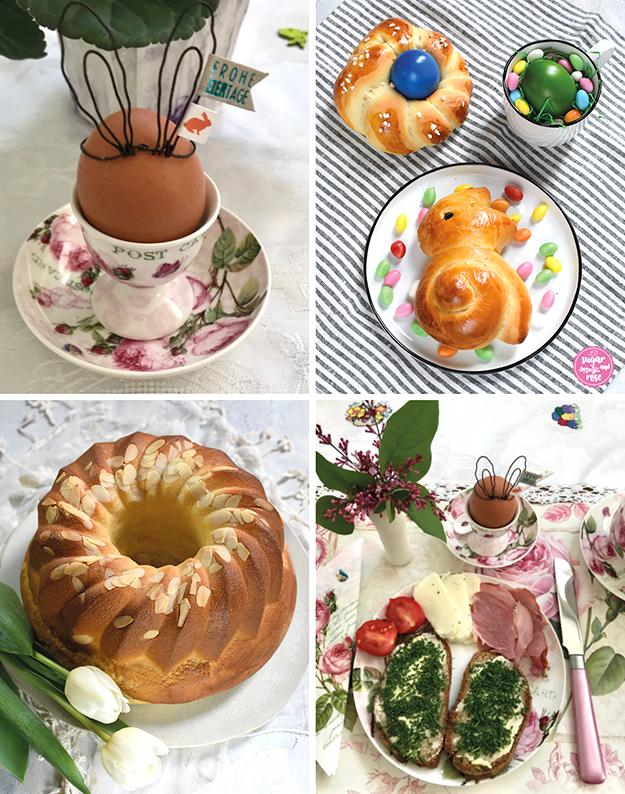 """Vierbildkombi: links oben ein gekochtes Ei im Eierbecher mit Rosenmotiven, am Ei aus Draht geformte Osterhasenohren und ein Anhänger mit """"Frohe Ostern""""; rechts oben ein Brioche-Osterhäschen und -Nesterl mit blauem Ei sowie einer Tasse mit gründem Osterei; links unten ein Germgugelhupf mit Mandelblättchen, davor weiße Tulpen; rechts unten ein Frühstückstisch mit Platzteller und Geschirr mit Rosenmotiven, ein rosa Frühstücksmesser, ein Eierbecher mit Ei, rosa Flieder, am Teller zwei Schnittlauchbrote, Osterschinken, Ziegenkäse und eine aufgeschnittene kleine Tomate"""