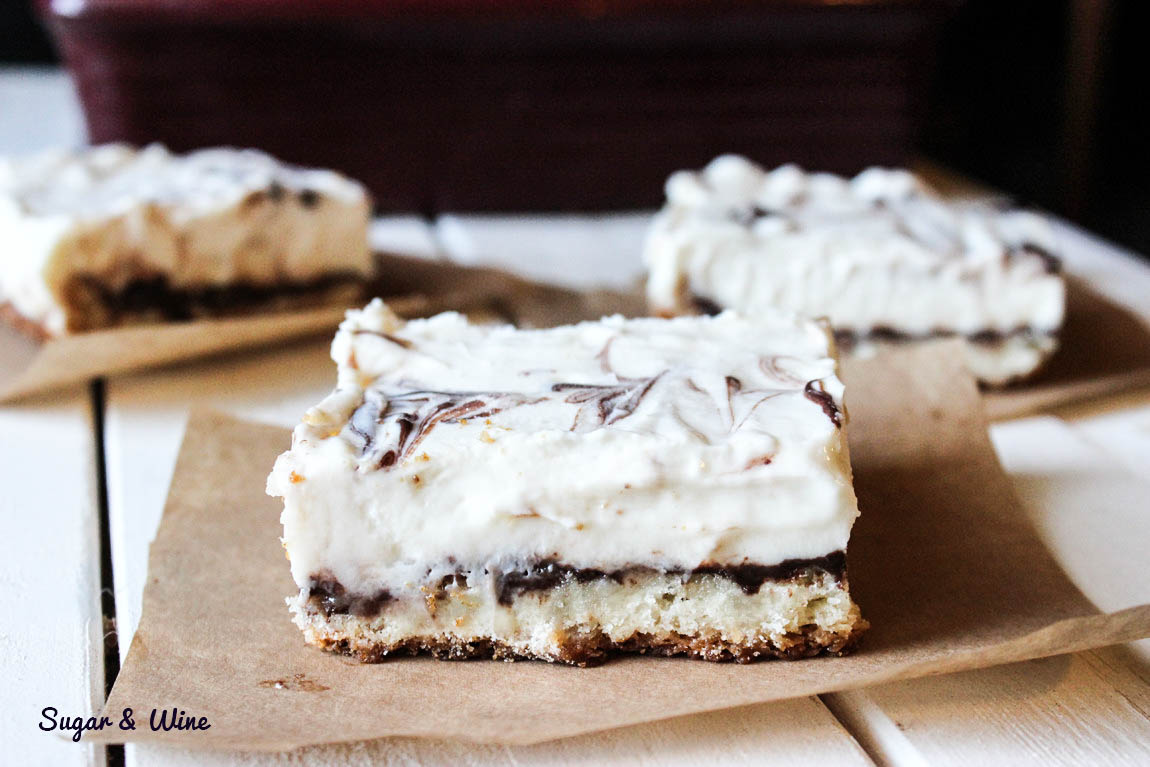 Vanilla and Chocolate Sugar Cookie Cheesecake Bars   Sugar and Wine