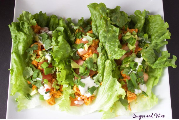 Buffalo Chicken Lettuce Wraps | Sugar and Wine