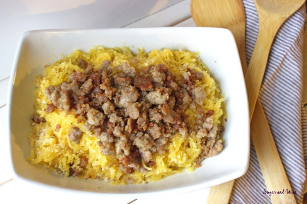 Roasted Spaghetti Squash with Italian Sausage and Parmesan | Sugar and Wine