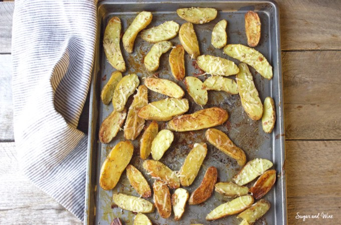 Roasted Fingerling Potatoes with Parmesan, Rosemary, & Black Truffle Salt | Sugar and Wine