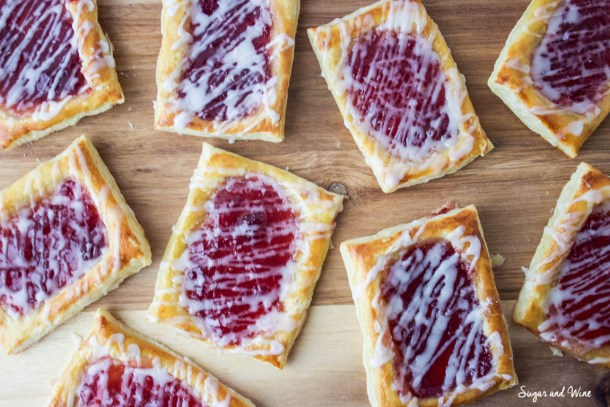 Strawberry Breakfast Pastries with Rosewater Glaze | Sugar and Wine