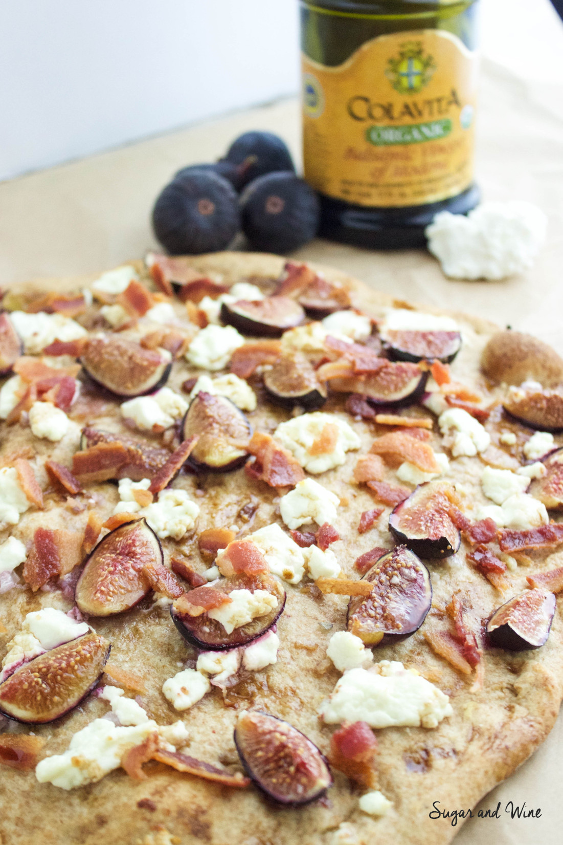 Fig, Goat Cheese and Bacon Pizza | Sugar and Wine