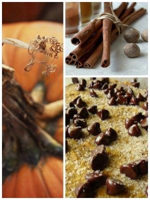 pumpkin collage cinnamon coconut chocolate chip muffins on www.sugarbananas.com
