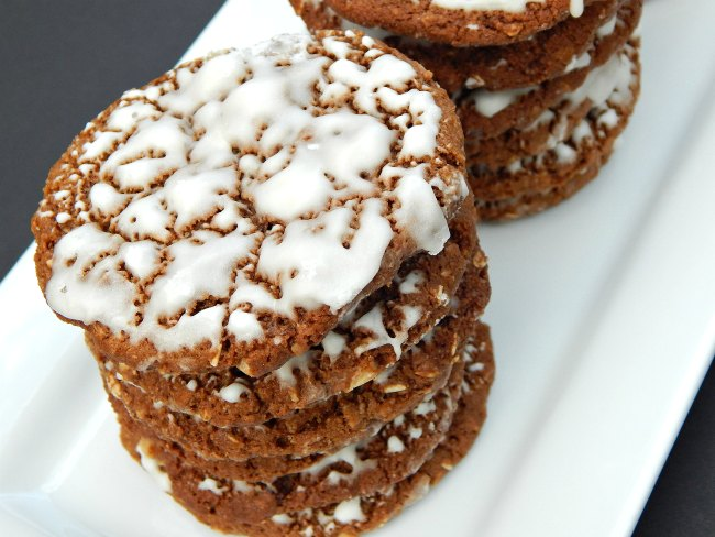Stack of Iced Oatmeal Cookies on www.sugarbananas.com