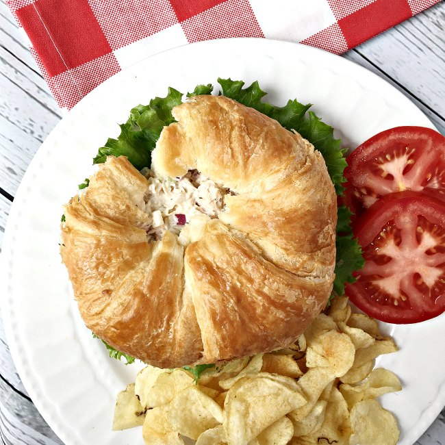 croissant tuna salad sandwich and tomato potato chips picnic www.sugarbananas.com