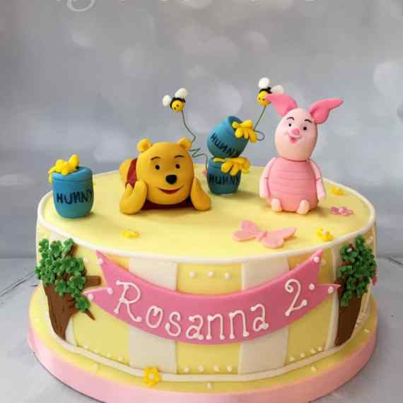 Pooh Bear and Piglet Birthday Cake