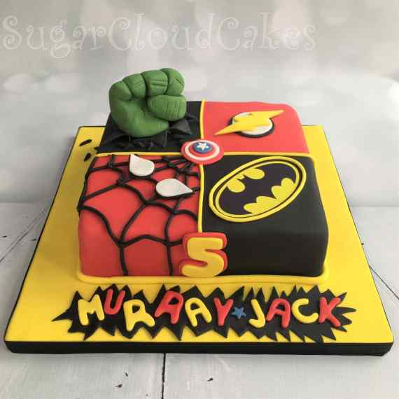 Superhero Birthday Cake - Spiderman, Hulk, Batman & The Incredibles