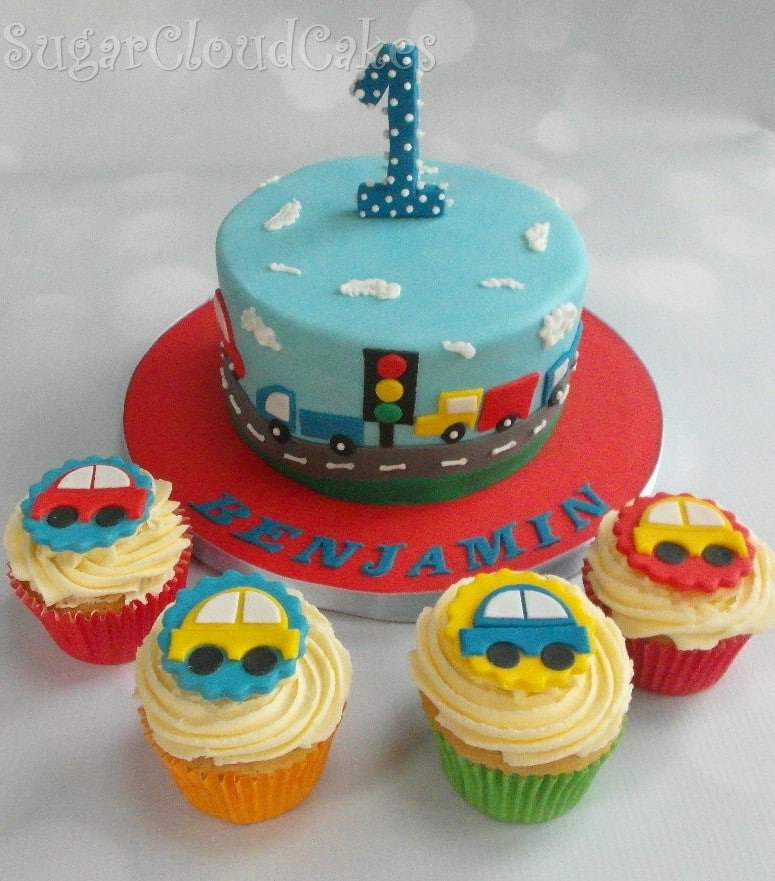 Transport Themed Birthday Cake and Cupcakes