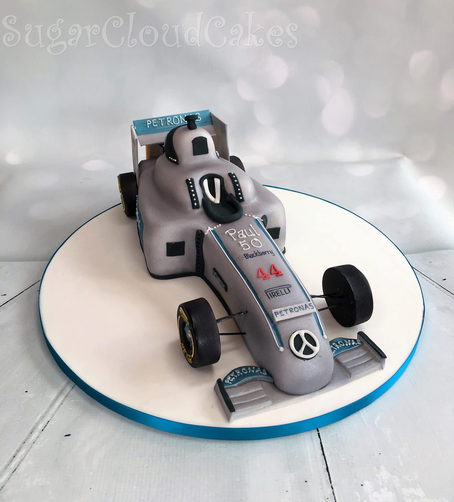 Lewis Hamilton F1 race car 50th birthday cake, Sandbach