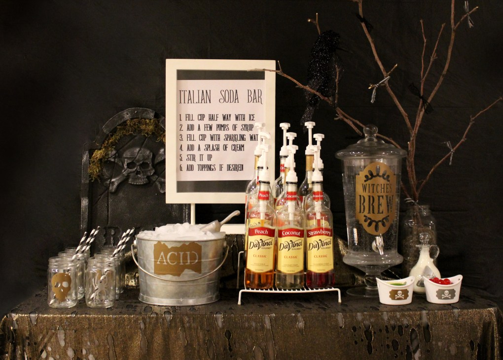 This Italian Soda Bar was so much fun to make for my Halloween party. I used the Cricut Explore Air 2 to create vinyl cutouts to personalize this party. Black and Gold color scheme for this halloween party to get more info visit sugarcoatedhousewife.com