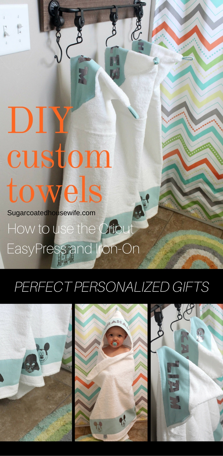 I made these darling hooded towels using the Cricut easy Press and Cricut Iron On! Get the full tutorial on How to make these custom towels. These would make great personalized gifts. Visit sugarcoatedhousewife.com