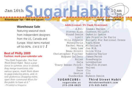 SugarHabit Winter Warehouse Sale 2010 | Postcard | Back
