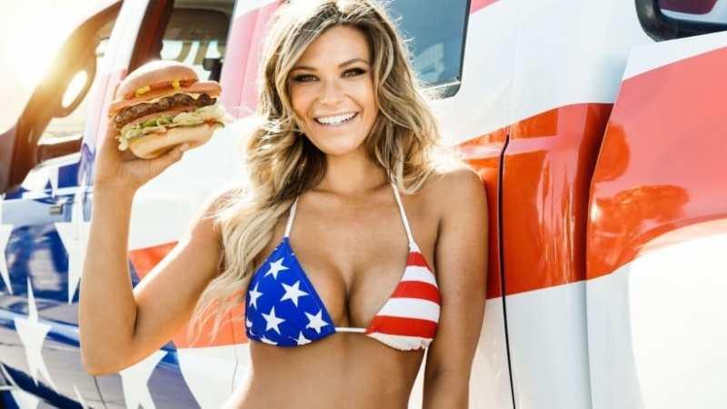 hot girl eating a burger