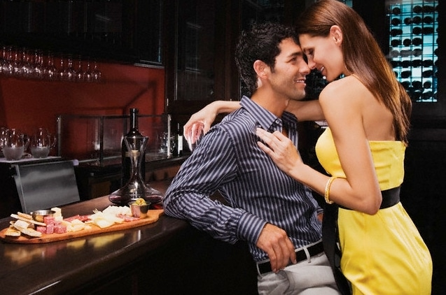 woman seducing a man