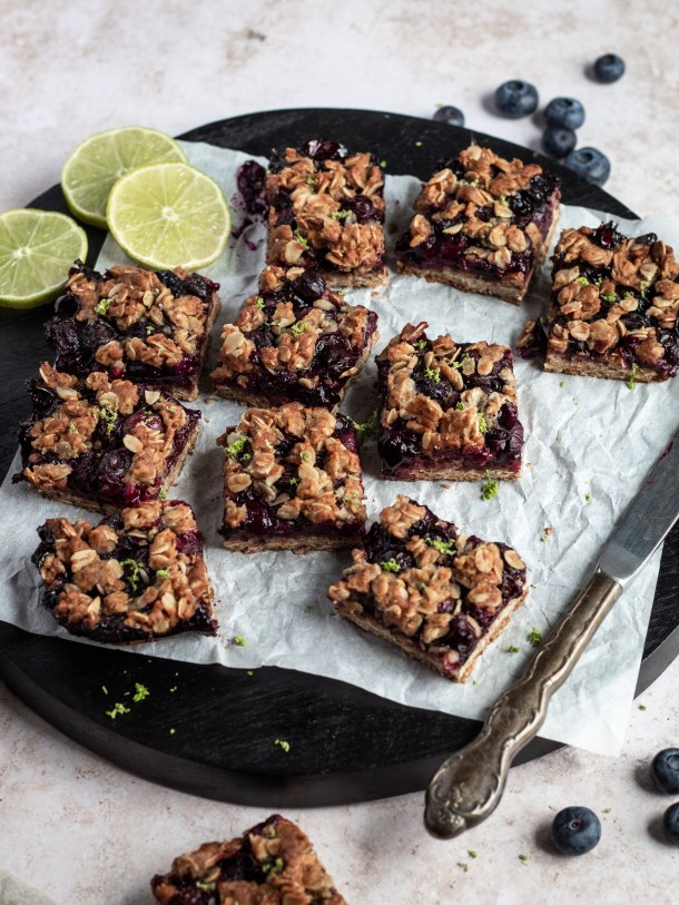 Vegan Blueberry Lime Crumble Bars