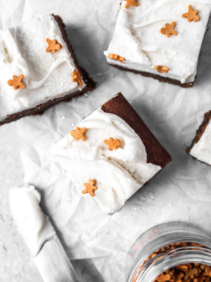 Ginger Molasses Cookie Bars with Frosting