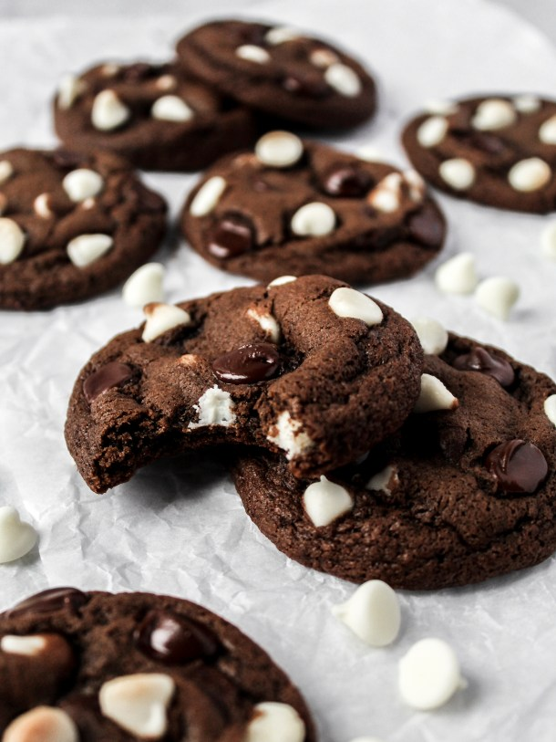 Image result for chocolate cookies with white chocolate chips