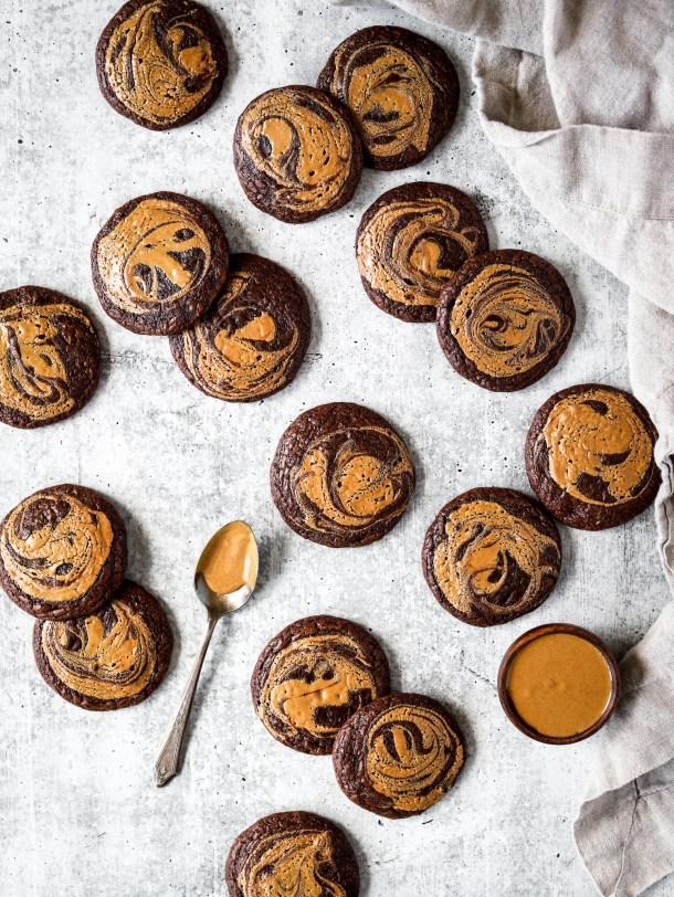 Peanut Butter Swirl Brownie Cookies