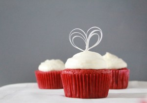 Wafer paper heart cake topper wide