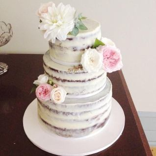 White chocolate ganache chocolate mud cake for a garden wedding.