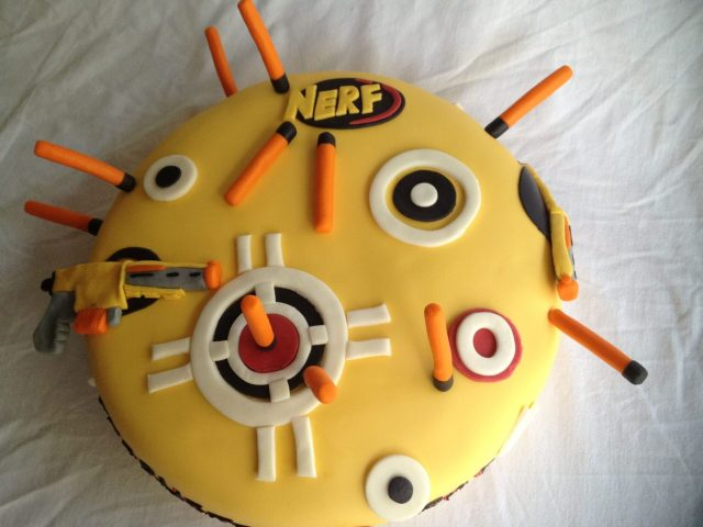 nerf fondant cake