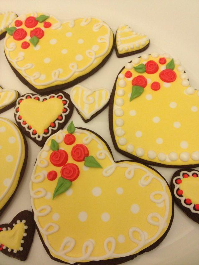 yellow heart chocolate sugar cookies royal icing yellow polka dot