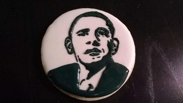 Obama cookie black white royal icing