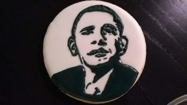 Obama cookie smile royal icing