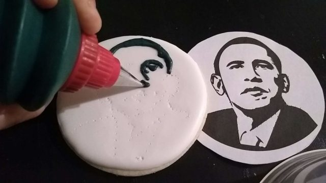 Obama cookie black white piping on royal icing