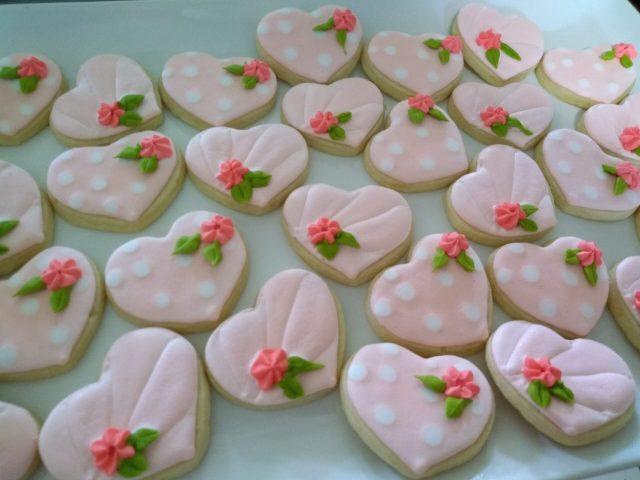 mini pink heart sugar cookies polka dot royal icing