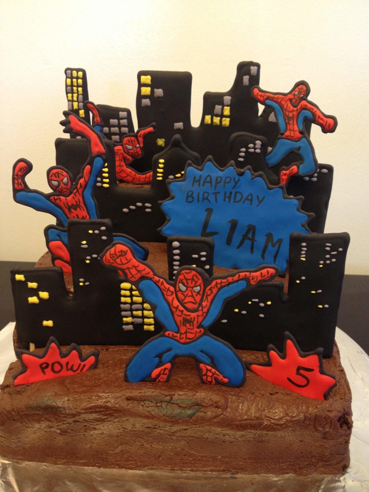 spiderman royal icing cake