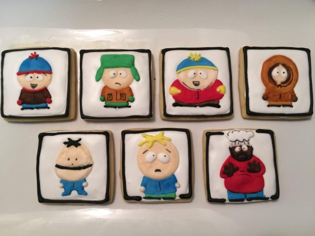 south park royal icing sugar cookies cartman kyle kenny stan chef butters