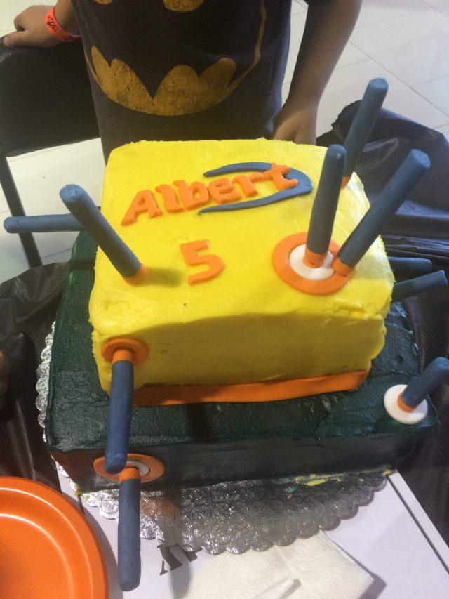 nerf cake buttercream fondant darts