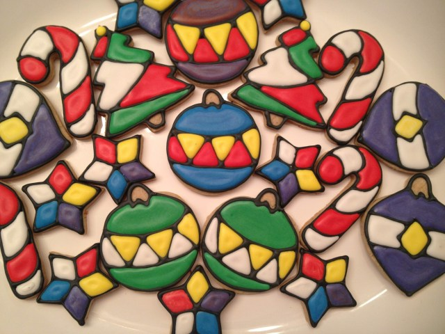 stained glass christmas royal icing sugar cookies