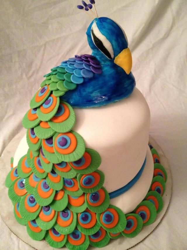 peacock cake fondant