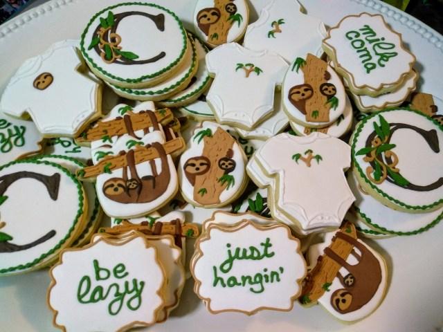 sloth royal icing sugar cookies baby just hangin be lazy milk coma