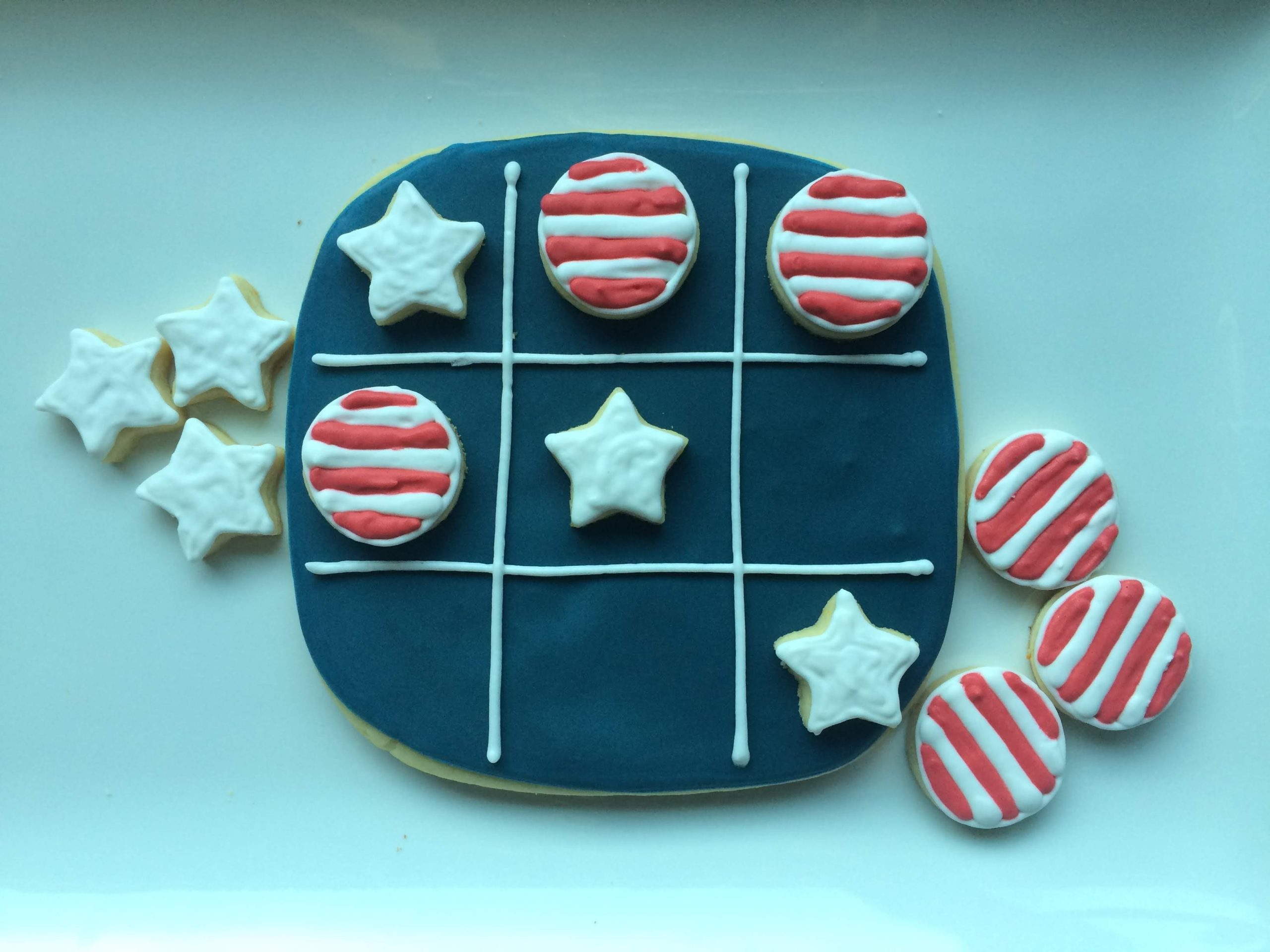 sugar cookies royal icing tic tac toe stars stripes july 4 independence day
