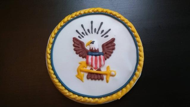 navy seal logo emblem royal icing cookie