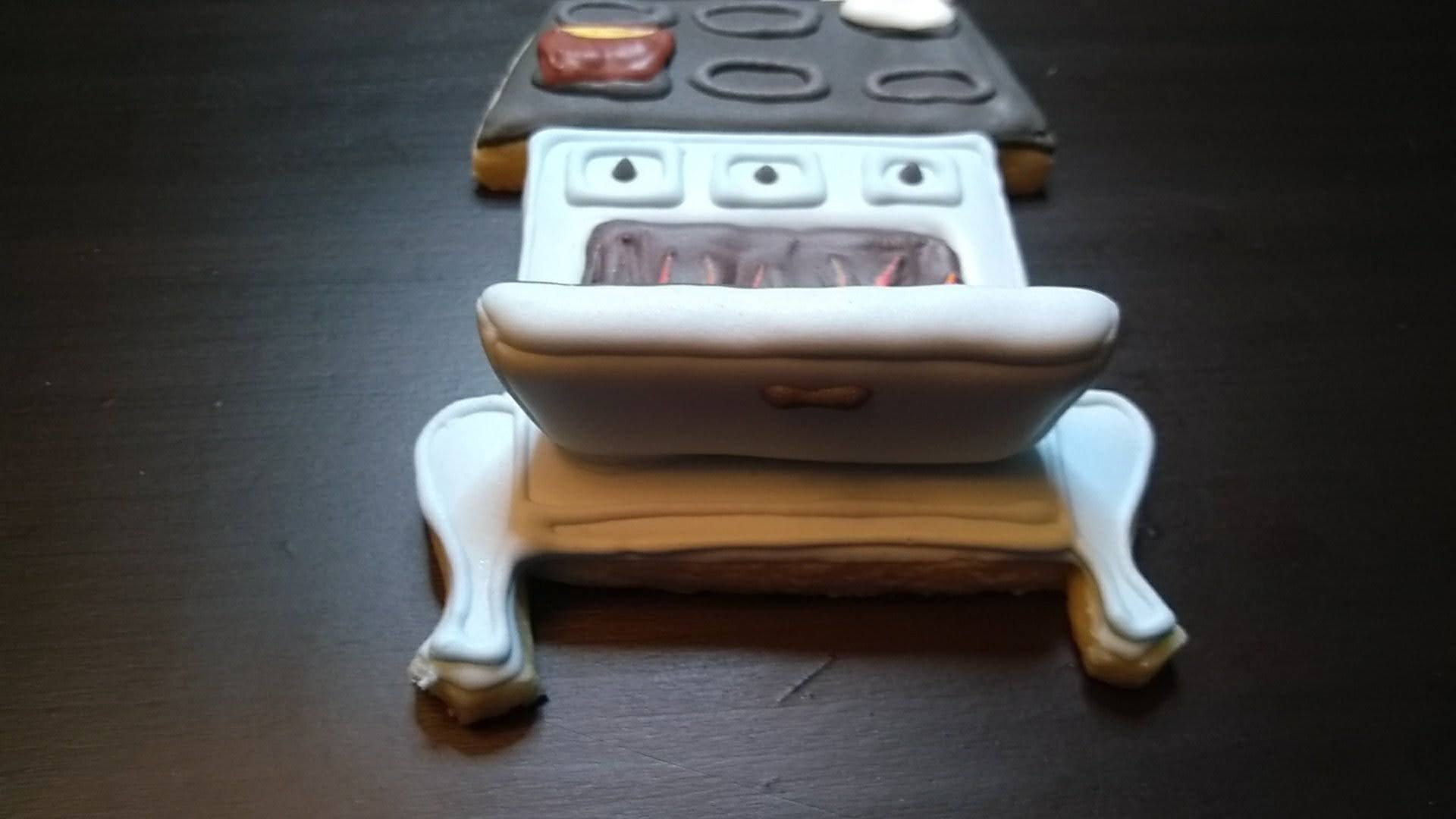 wood stove royal icing cookie