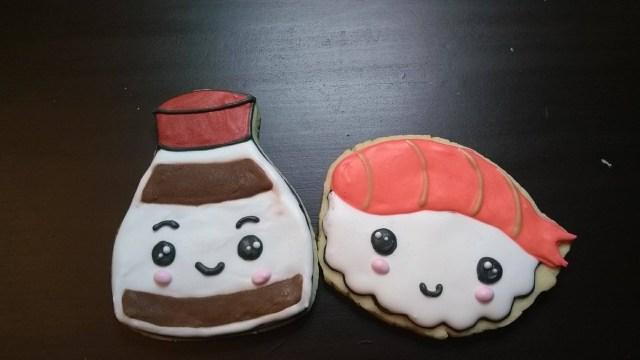 sushi and soy sauce cookies