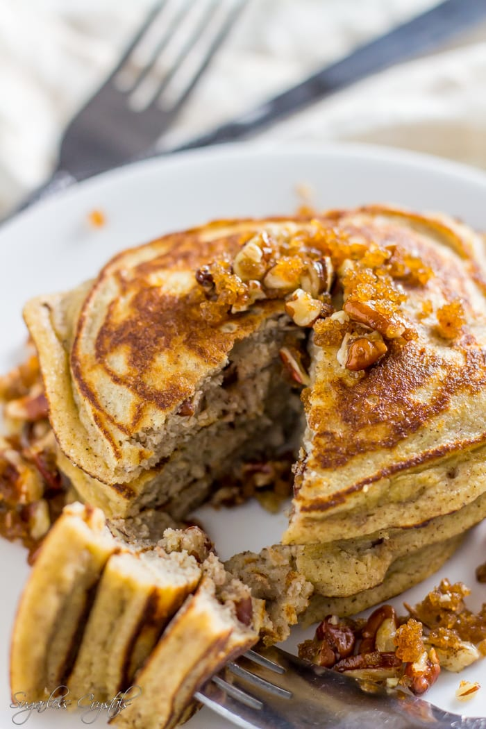 coconut flour pancakes with sukrin brown sugar and pecans