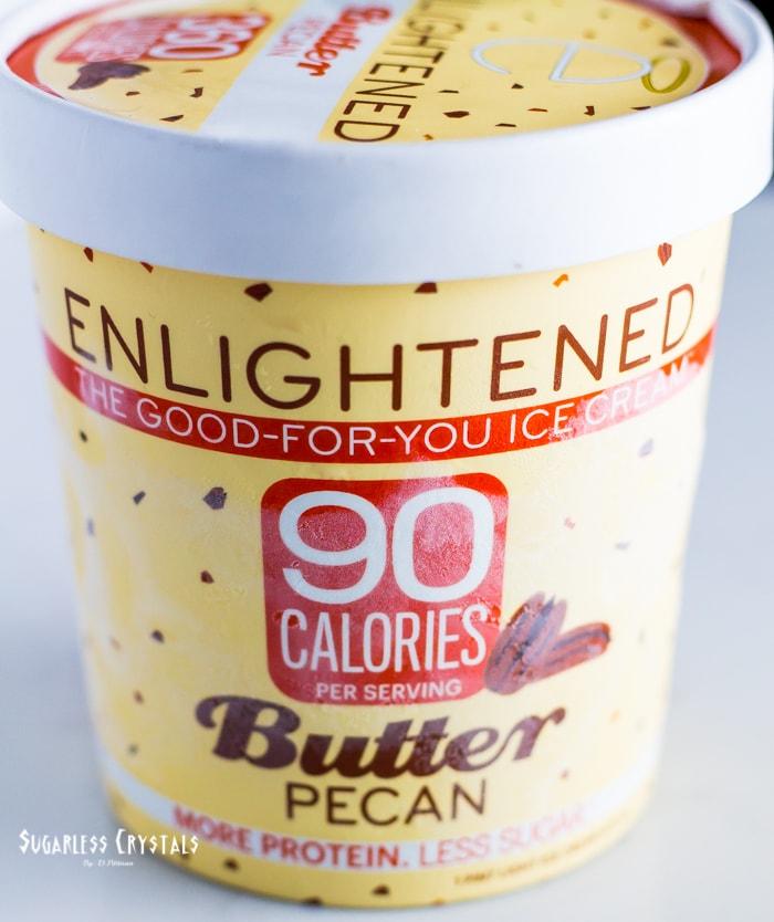 pint of enlightened ice cream flavor butter pecan