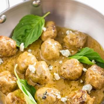 Basil Pesto Chicken Meatballs (Keto, Low Carb, Healthy)