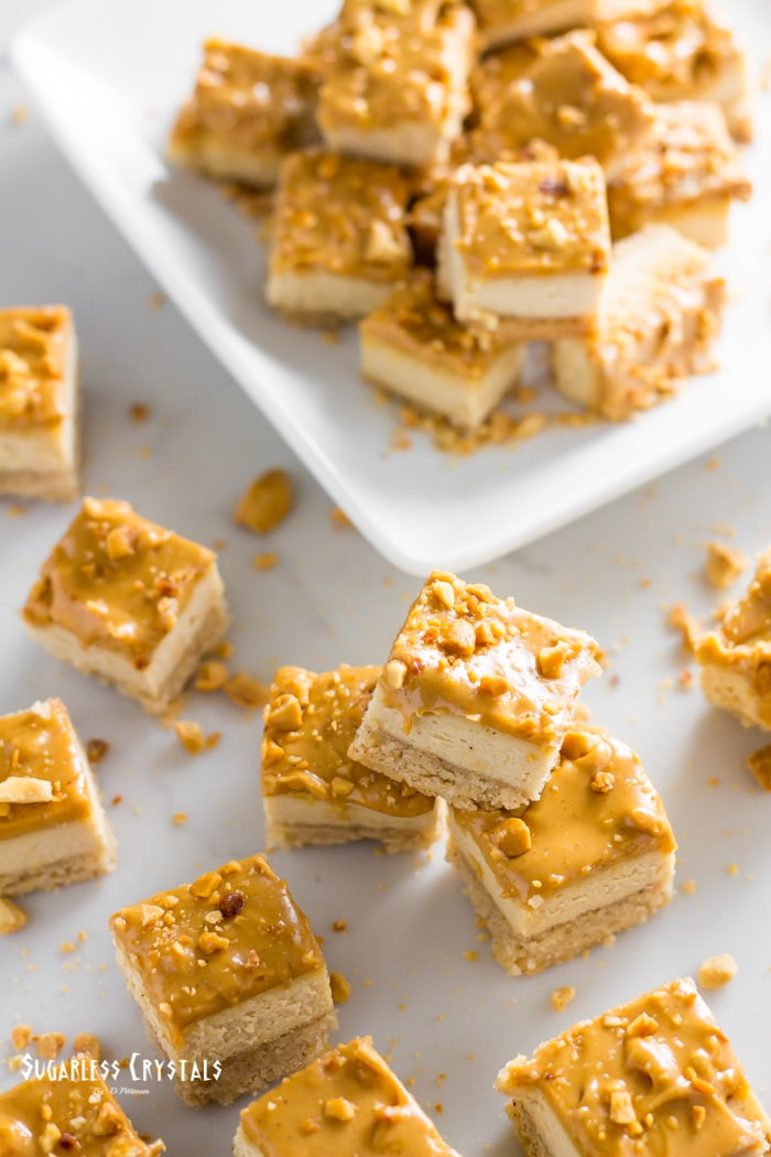 keto cheesecake bites with peanut butter on a plate