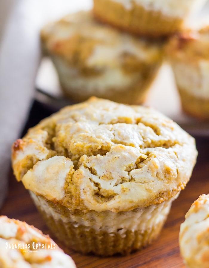 keto pumpkin muffins with maple cream cheese swirl