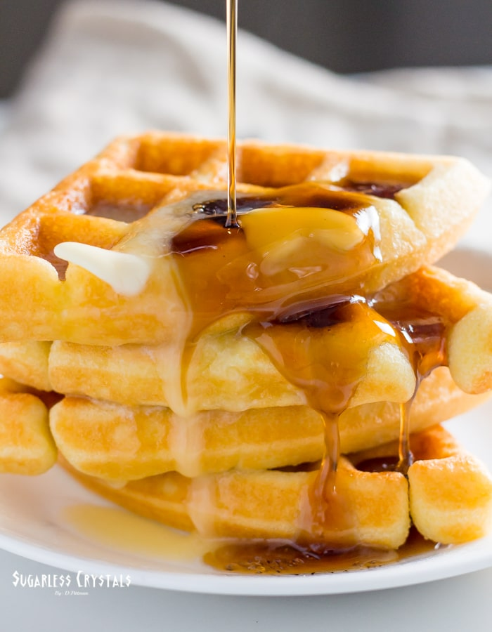 keto waffle recipe with sugar free maple syrup and melted butter